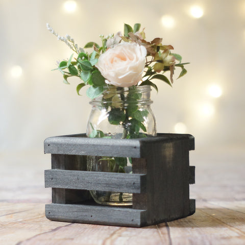 Box Centerpiece Basket, Flower Box, Caddy Black-HOME DECOR-GFT Woodcraft