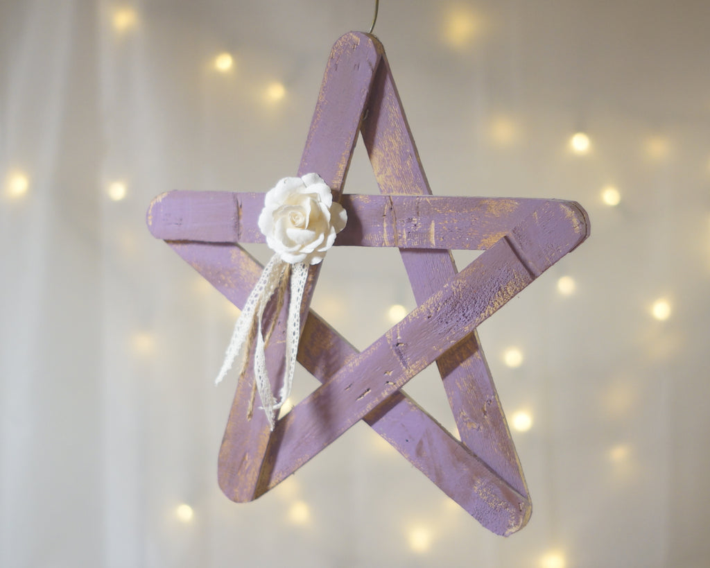 Wall Decor, Purple Wood Star, SHIPS NEXT DAY-HOME DECOR-GFT Woodcraft