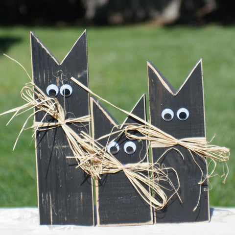 Fall Decor Black Cat, Halloween Decoration-Halloween Decor-GFT Woodcraft