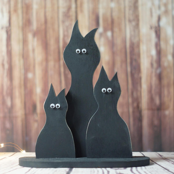 Fall Decor Black Cat Shelf Sitter-Halloween Decor-GFT Woodcraft