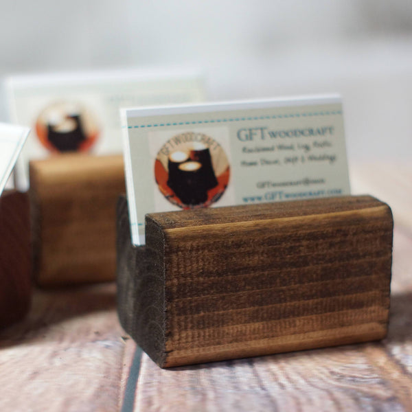 Business Card Holder, Reclaimed Wood Business Card Stand-Gifts-GFT Woodcraft