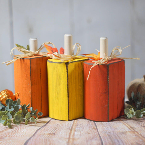 Candy Corn Pumpkins, Halloween Decoration-Halloween Decor-GFT Woodcraft