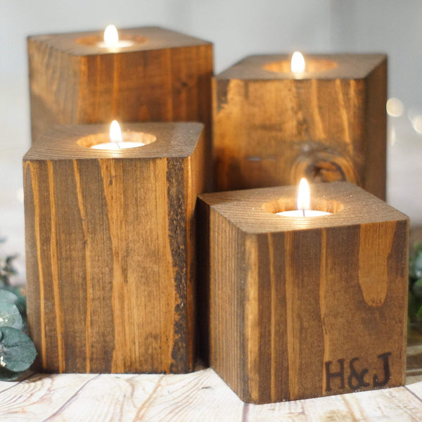Custom Wood Candle Holder Set 5th Anniversary-Gifts-GFT Woodcraft