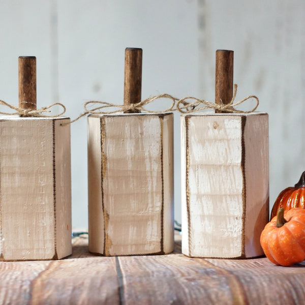 Fall Decor Distressed White Pumpkin Set-Halloween Decor-GFT Woodcraft