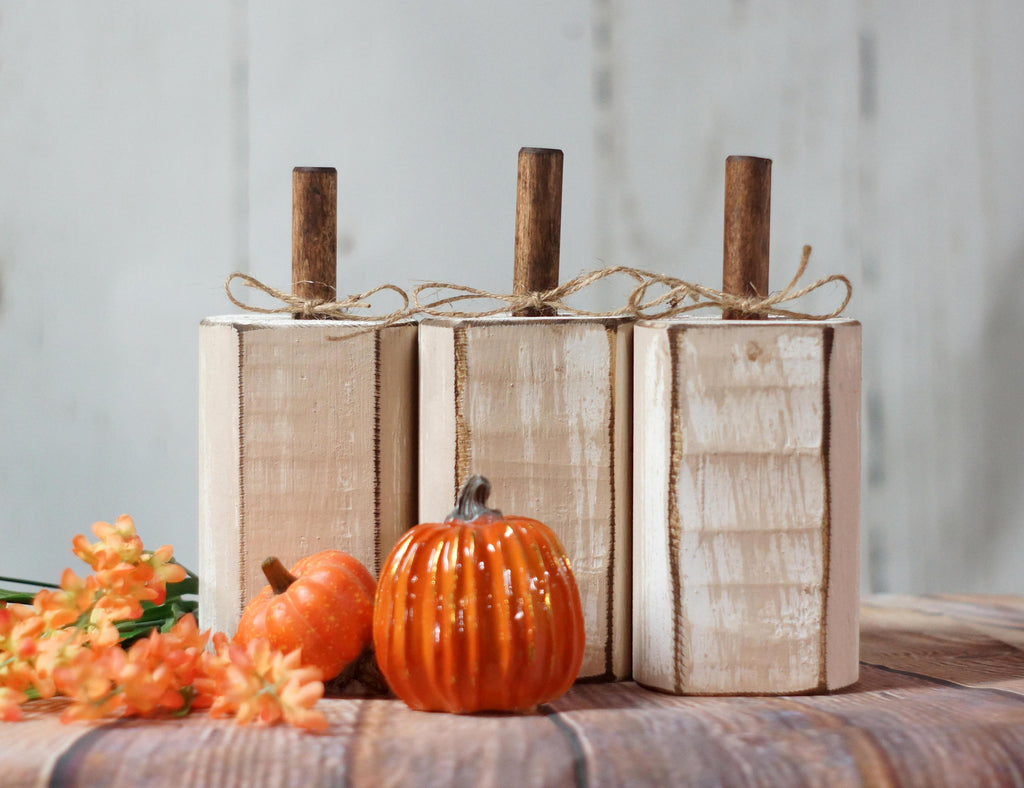 Distressed White Pumpkin Set-Halloween Decor-GFT Woodcraft