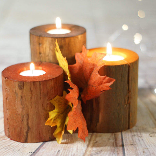 Fall Decor Log Candles, Harvest Colors, Thanksgiving Table-Candle Holders-GFT Woodcraft