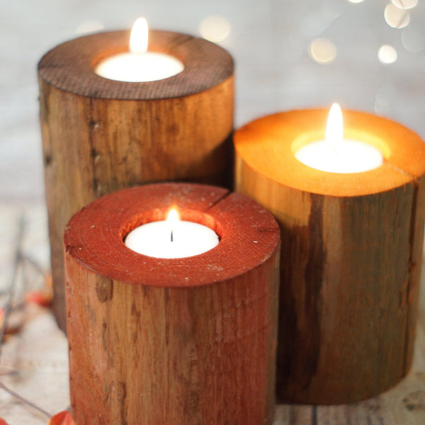 Log Candle holder set, Harvest Colors, Thanksgiving Table-Candle Holders-GFT Woodcraft