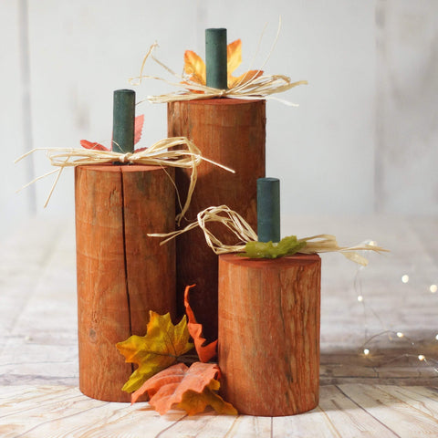 Fall Decor, Log Pumpkins Harvest-HALLOWEEN-GFT Woodcraft