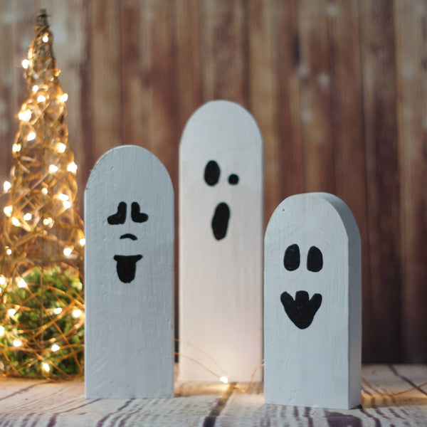 Halloween Ghosts, Rustic Halloween Decor-Halloween Decor-GFT Woodcraft