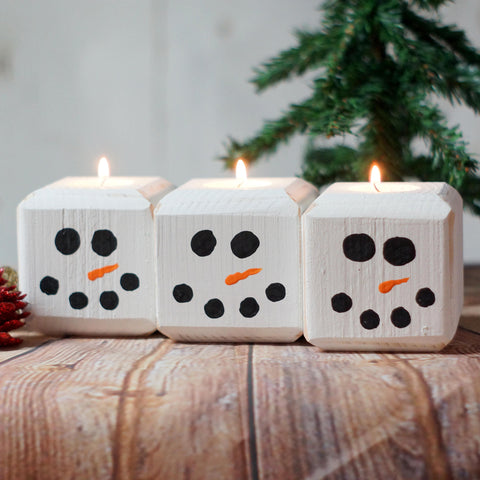 Wood Snowman Candle, Holiday Candles-CHRISTMAS-GFT Woodcraft