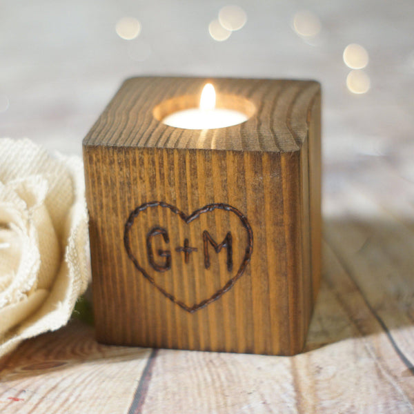 Personalized Hand Burned Candle Holder-Gifts-GFT Woodcraft