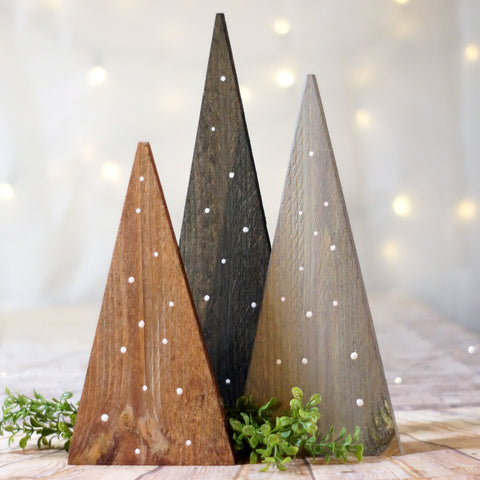 Christmas Tree set in brown Black and Gray with White dots-CHRISTMAS-GFT Woodcraft