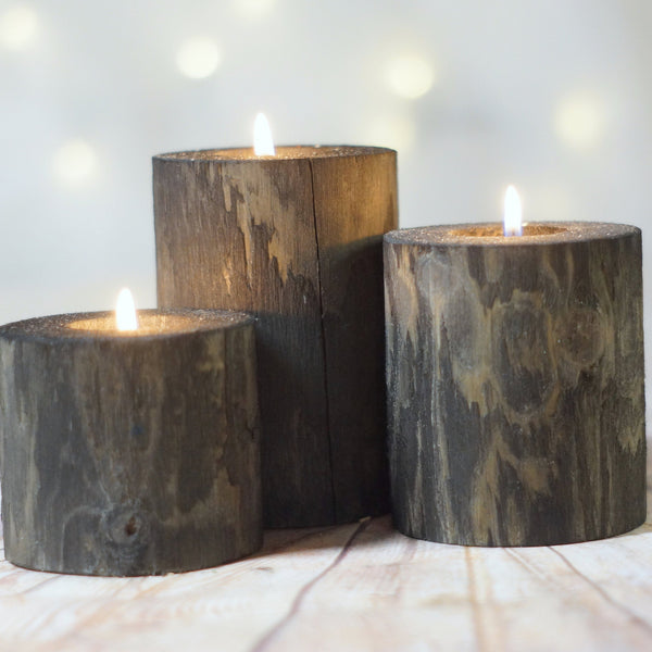 Set of 3 black Log Candle Holders, Farmhouse Decor-Candle Holders-GFT Woodcraft
