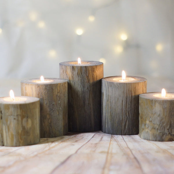 Log Candle Holders, Set of 5, Gray-Candle Holders-GFT Woodcraft