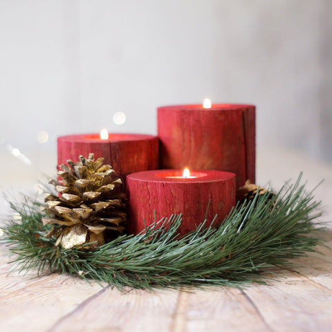 Log Christmas Candles, Holiday Decor Red-CHRISTMAS-GFT Woodcraft