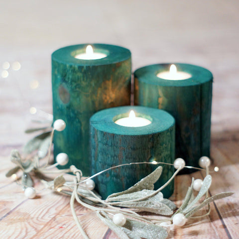 Rustic Holiday Decor, Green Wood Candle Holder-CHRISTMAS-GFT Woodcraft