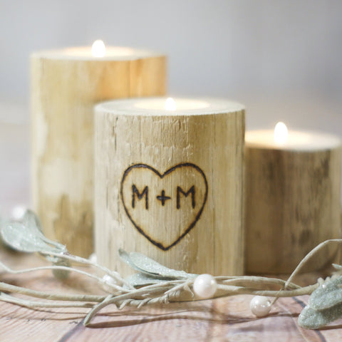 Log Candle Holder Set - Personalized-Gifts-GFT Woodcraft