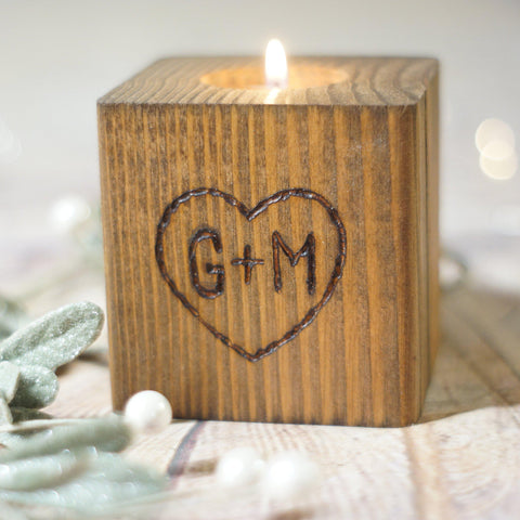 Custom Personalized Hand Burned Candle Holder-Gifts-GFT Woodcraft