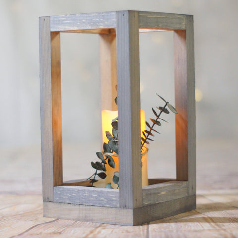 Gray Lantern, Rustic Wedding Decor-LANTERN-GFT Woodcraft