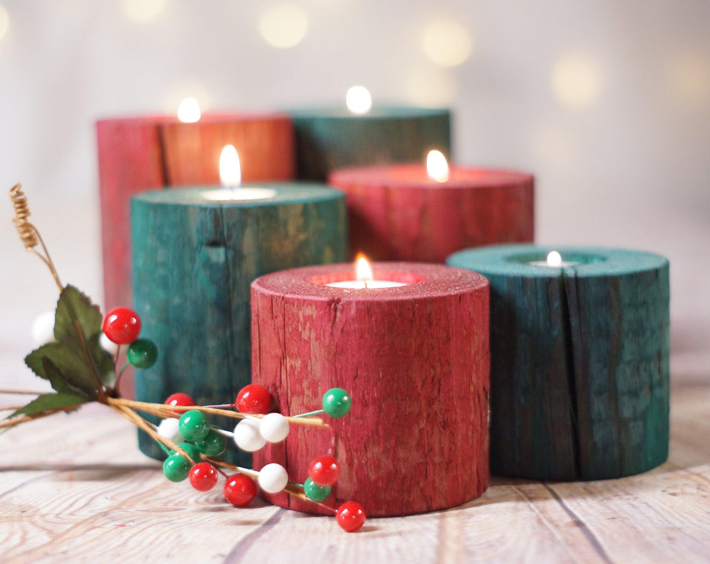 Log Candle Holders Red And Green Gftwoodcraft