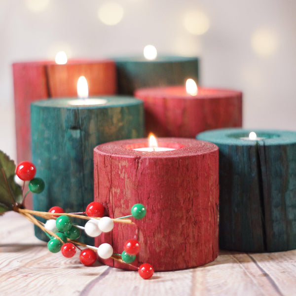 Log Candle Holders Red and Green-CHRISTMAS-GFT Woodcraft