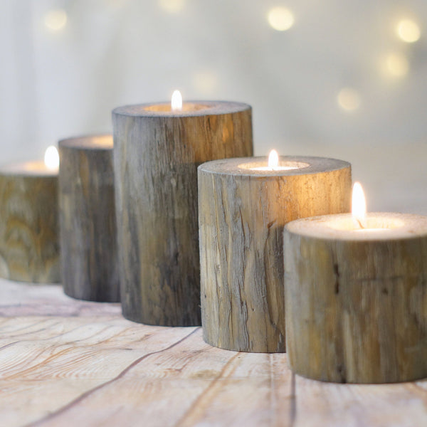 Set of 5, Gray Log Candle Holders, Farmhouse Table Centerpiece-Candle Holders-GFT Woodcraft