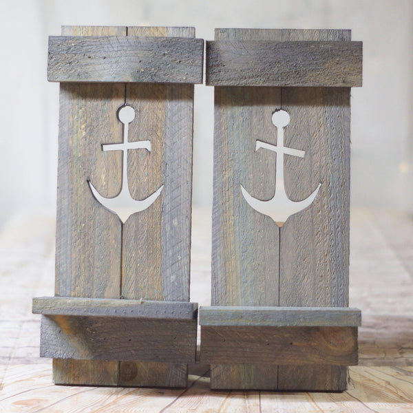 Gray Nautical Anchor Pallet Wall Sconce Set-HOME DECOR-GFT Woodcraft