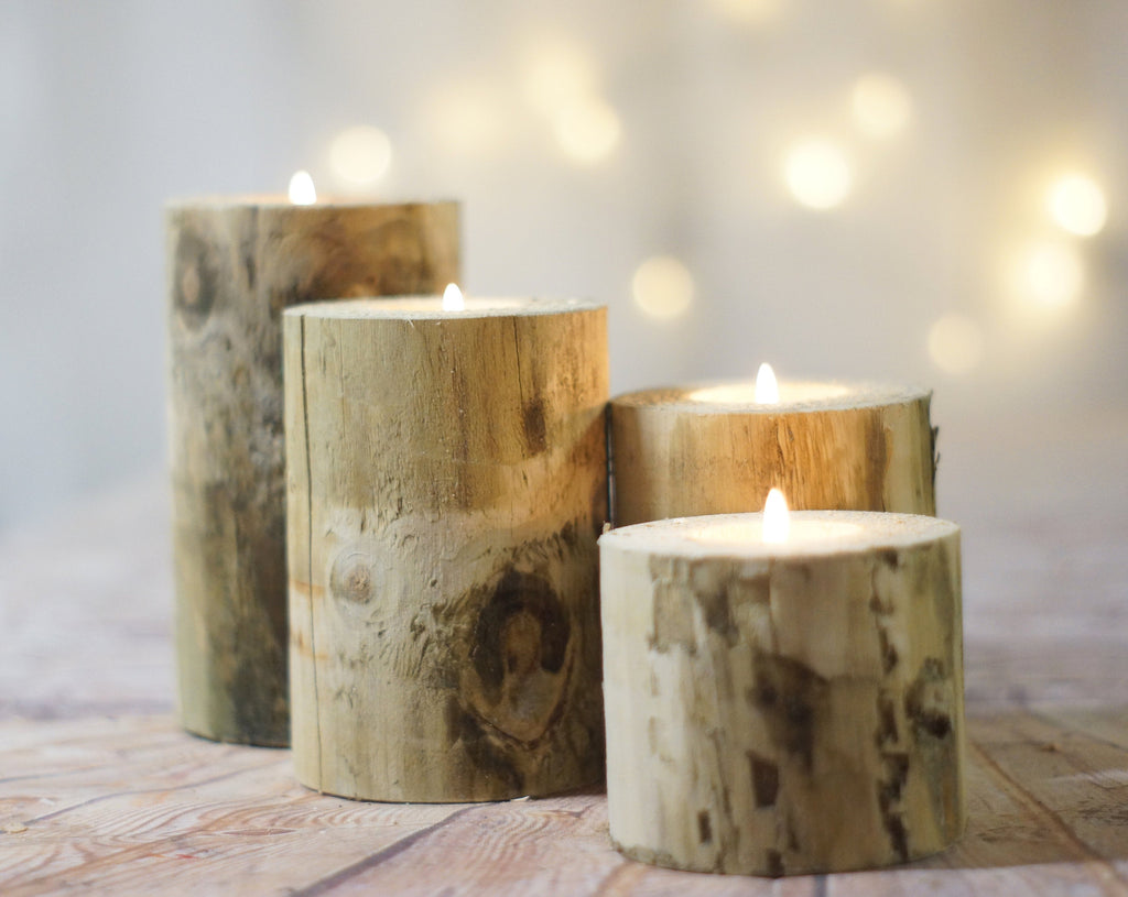 Log Candle Holder set of 4-Candle Holders-GFT Woodcraft