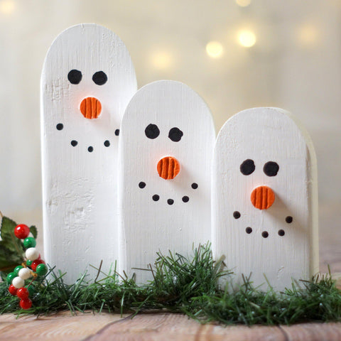 Snowman Family Set, Wooden snowmen-CHRISTMAS-GFT Woodcraft