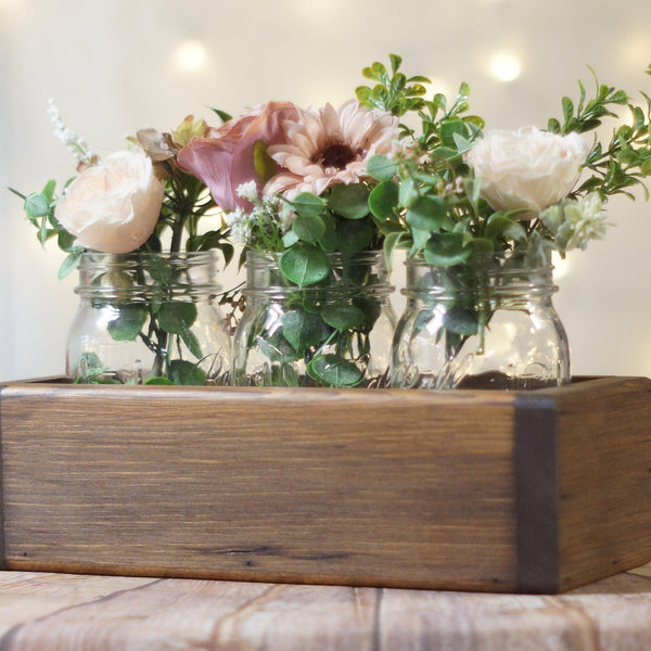 Wood Box Centerpiece, Box for Mason Jars-Wedding-GFT Woodcraft