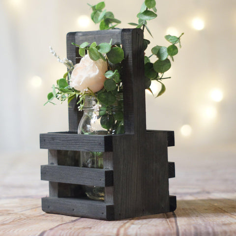Box Centerpiece, Wishing Well Basket Black-HOME DECOR-GFT Woodcraft