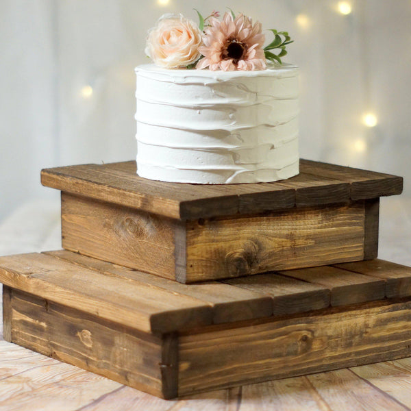 "Cake Stand, 10"" Wood Reclaimed Wood-Wedding-GFT Woodcraft"