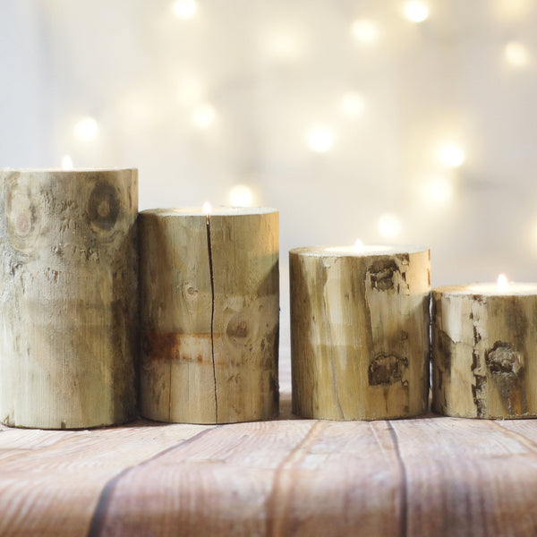 4 Log Candle Holders, Rustic Centerpiece-Candle Holders-GFT Woodcraft