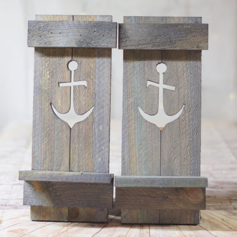 Wall Sconce Set, Nautical Anchor Gray-HOME DECOR-GFT Woodcraft
