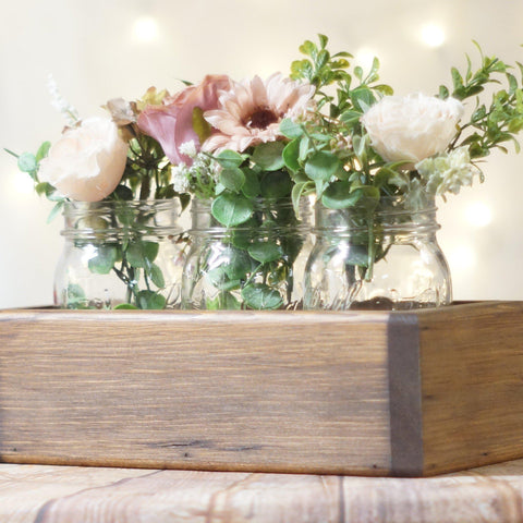 Box Centerpiece, Box for 3 Mason Jars Rounded-Wedding-GFT Woodcraft