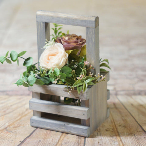 Box Centerpiece, Wishing Well Basket Gray-HOME DECOR-GFT Woodcraft