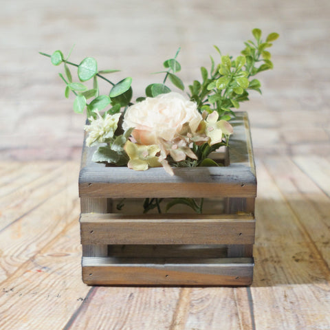 Box Centerpiece Basket, Flower Box, Caddy Gray-HOME DECOR-GFT Woodcraft
