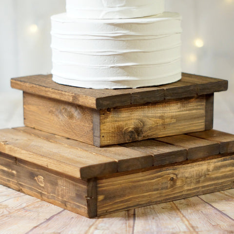 "10-12"" Wood cake stand set, rustic wedding decor-Wedding-GFT Woodcraft"