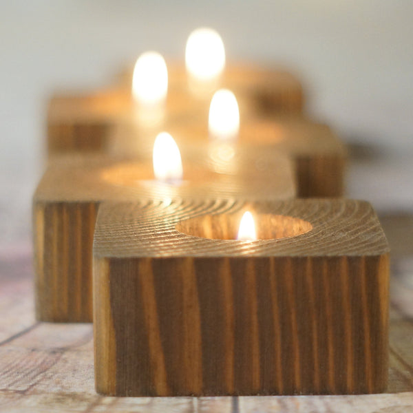 5 Reclaimed Wood Candle Holders-Candle Holders-GFT Woodcraft