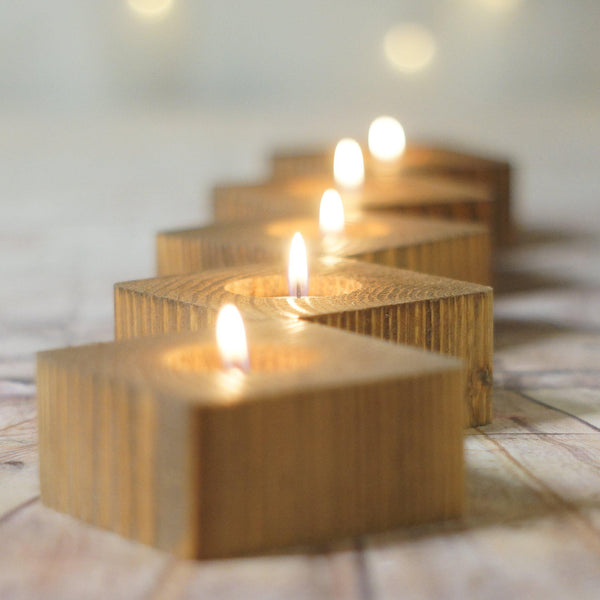 10 Reclaimed Wood Candle Holders, tealight votive-Candle Holders-GFT Woodcraft