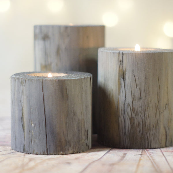 Log Candle Holder Set Gray with White Twine-Candle Holders-GFT Woodcraft