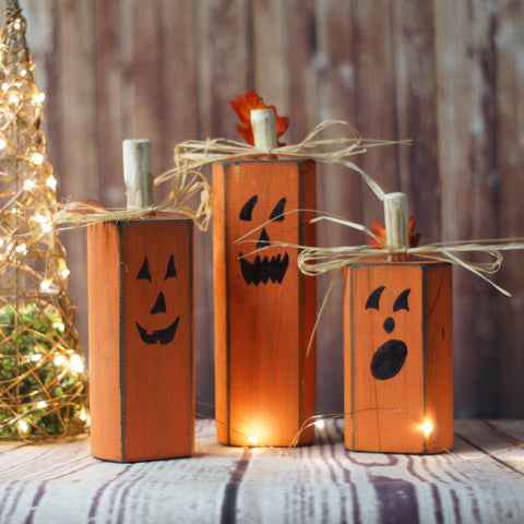 Jack O Lanterns, Orange Reclaimed Wood Pumpkins-Halloween Decor-GFT Woodcraft