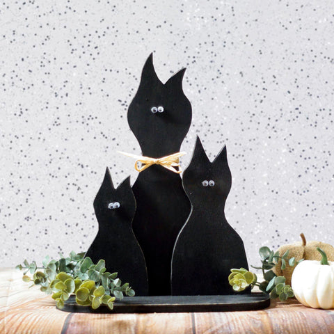 Black Cat Shelf Sitter-Halloween Decor-GFT Woodcraft