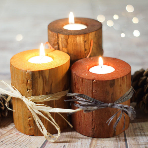 Log Candles, Harvest Colors, Fall Decor-Candle Holders-GFT Woodcraft
