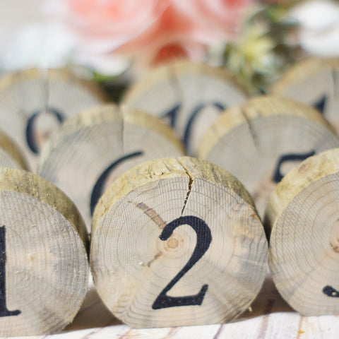 Log Slice Table Numbers, Rustic Wedding, Wooden Numbers-Wedding-GFT Woodcraft