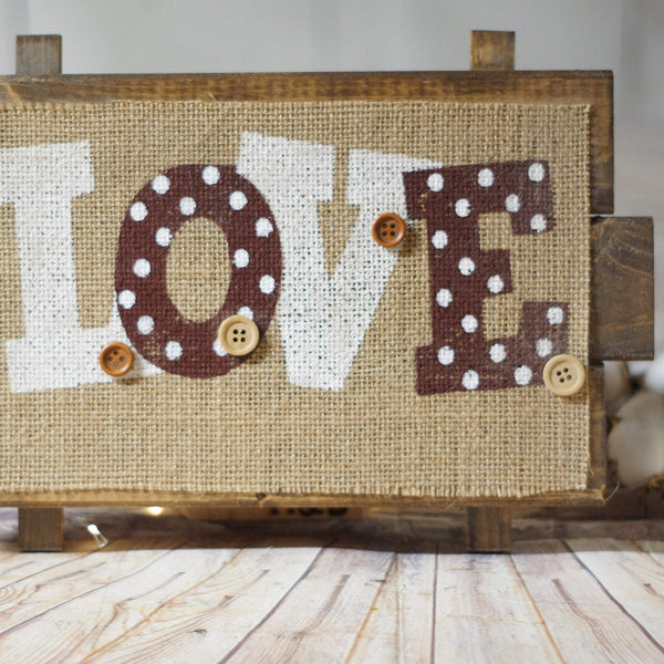 Love Heart Wall Decor, Valentines Day Decorations, Wood Burlap Buttons, Cute Wall Sign, Rustic Home Decor, Farmhouse Holidays, Wall Art-GFT Woodcraft
