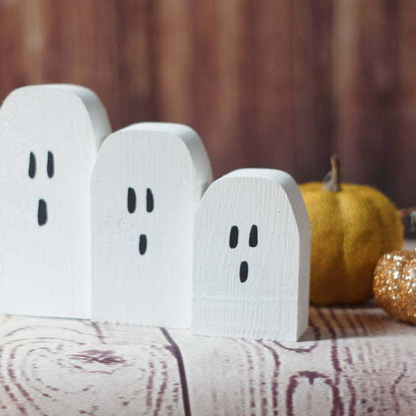 Mini Halloween Ghosts, Rustic Halloween Decor-Halloween Decor-GFT Woodcraft