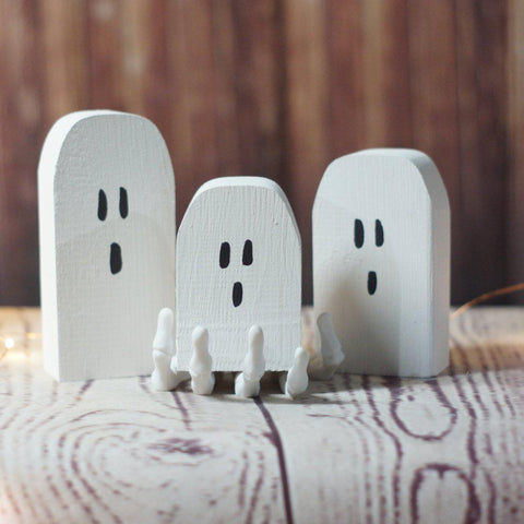 Fall Decor, Mini Halloween Ghosts-Halloween Decor-GFT Woodcraft