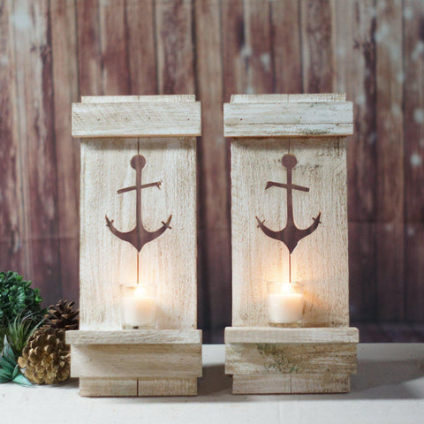 Wall Sconce, Nautical Anchor White-Home Decor-GFT Woodcraft