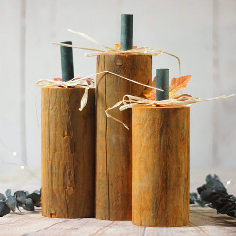 Fall Decor, Log Pumpkins Orange-HALLOWEEN-GFT Woodcraft